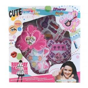 Set de Maquillaje Infantil Rosa con 3 Bandejas