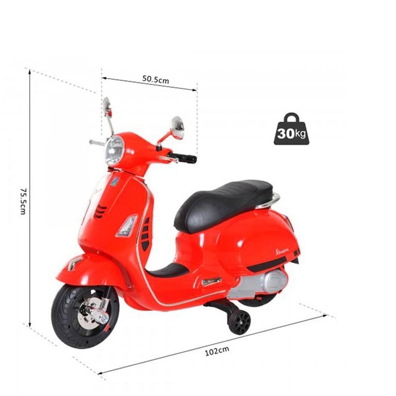 Moto Vespa Roja Eléctrica para Niños