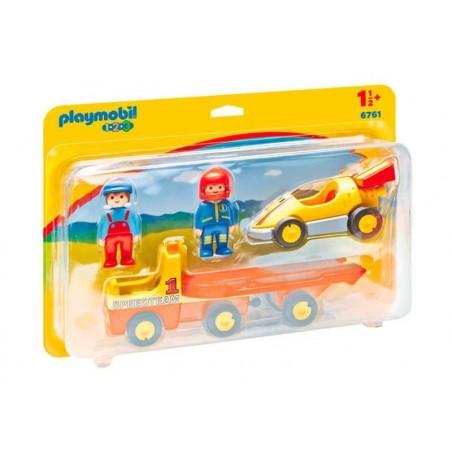 Playmobil 1.2.3. Coche de Carreras c/Transportador