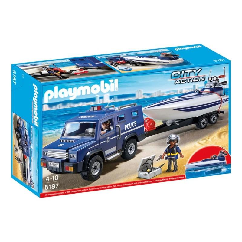 Coche de policía con lancha - Playmobil
