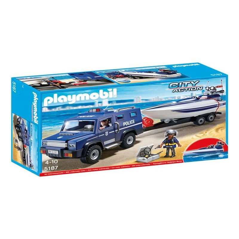 Coche de policía con lancha  Playmobil