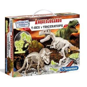 Arqueojugando T-Rex y Triceratops Fosforescente