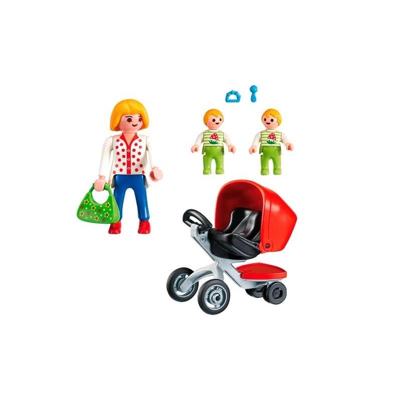 Playmobil City Life Mamá con Carrito de Gemelos