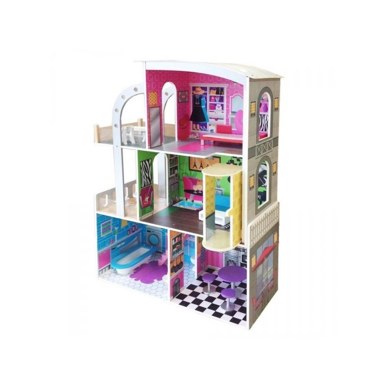 Casita de muñecas moderna con 19 muebles
