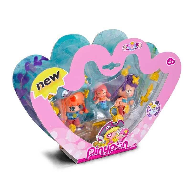Pinypon Piratas y Sirenas Pack 3 Figuras