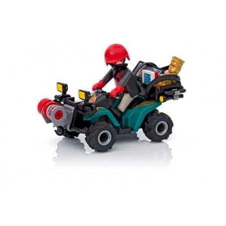 Playmobil City Action Ladron con Quad y Botin