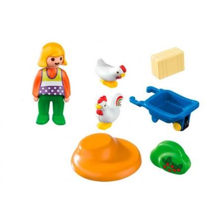 Playmobil 1.2.3 Granjera con Gallinas