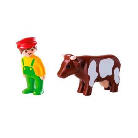 Playmobil 1.2.3 Granjero con Vaca