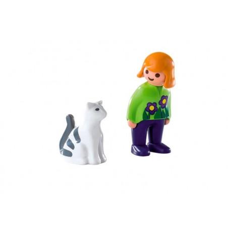 Playmobil 1.2.3 Mujer con Gato