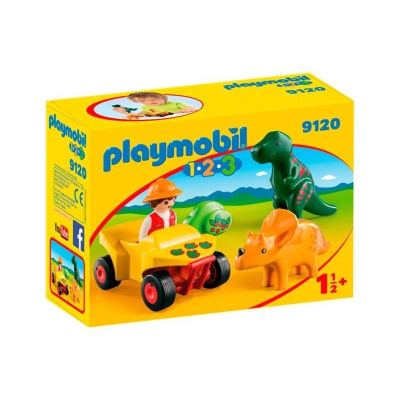 Playmobil 1.2.3 Quad con 2 Dinos