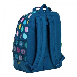 MOCHILA DOBLE ADAPTABLE CARRO BENETTON TOPOS MARIN